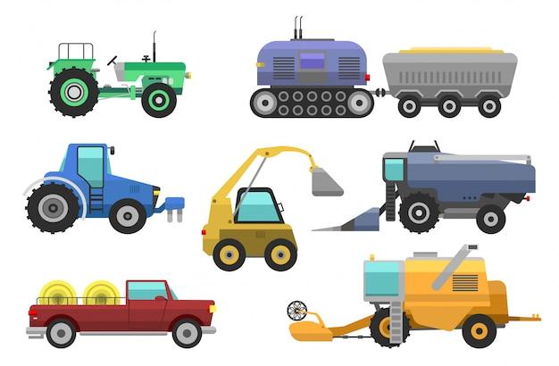 農業用車両のハーベスタートラクターマシン、コンバイン、掘削機。アイコンは、耕作、草刈り、植栽、トラクターの収穫のためのアクセサリーと農業用ハーベスターマシンを設定