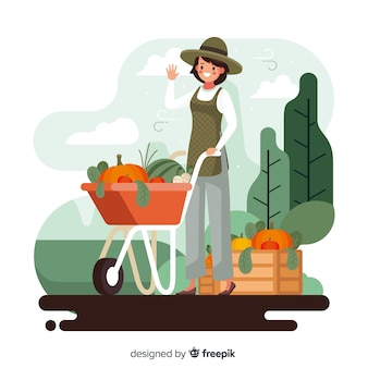 野菜がいっぱい入ったかごを持つ農業女性