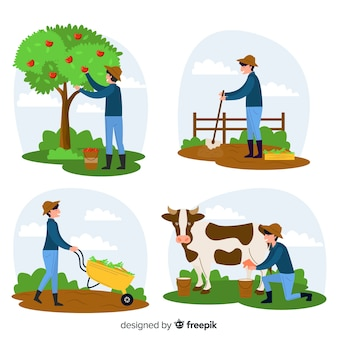 Agricultural workers characters at farm