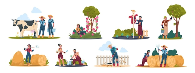 Agricultural workers illustration