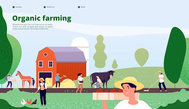 Agricultural workers work with equipment in nature, agriculture and organic farming vector concept