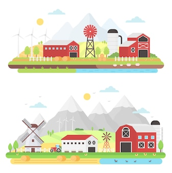農業アグリビジネスと農業の概念。農村の農場景観