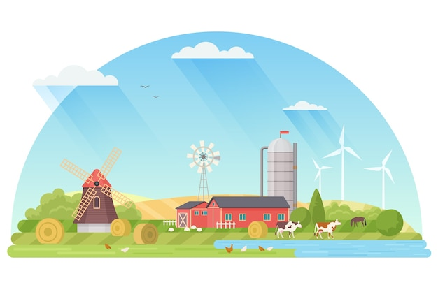 Agriculture, agribusiness and farming concept illustration.