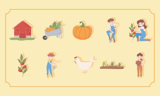 Набор элементов сельского хозяйства и фермы