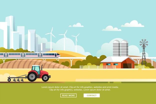 農業と農業。アグリビジネス。シルエットメガポリスと電車のレールのある田園風景。