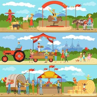 農業と農業の水平方向のバナーセット、自然食品農家製品、ガーデニング、農村風景のカラフルな詳細なイラスト