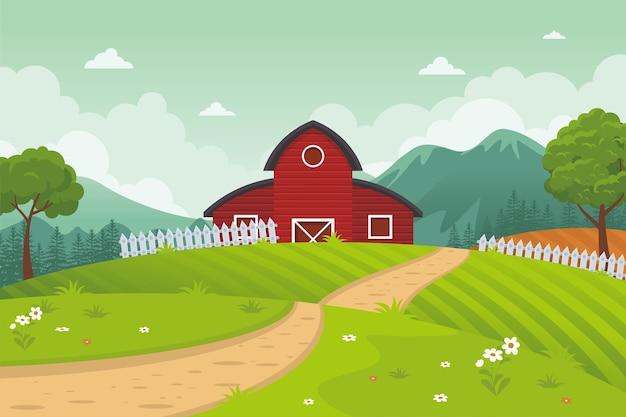 Сельское хозяйство и сельское хозяйство сельский пейзаж с тропой, сараем и горами