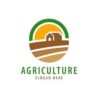 農業と有機農場のロゴアイコンテンプレート