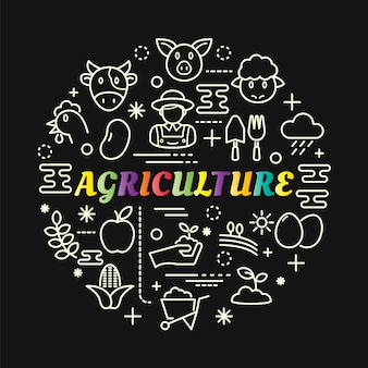 Agriculture colorful gradient with line icons set