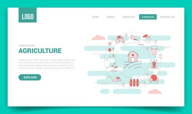웹사이트 템플릿 또는 방문 페이지 홈페이지 벡터에 대한 원 아이콘이 있는 농업 개념