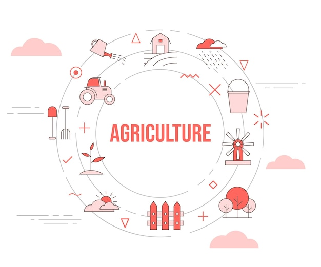 Agriculture concept with icon set template banner and circle round shape vector