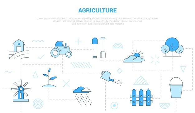 Agriculture concept with icon set template banner with modern blue color style vector illustration