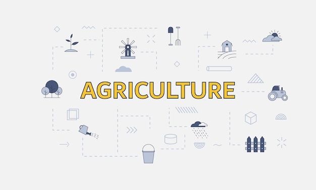 Agriculture concept with icon set with big word or text on center