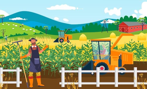 Поле фермы сельскохозяйственных культур