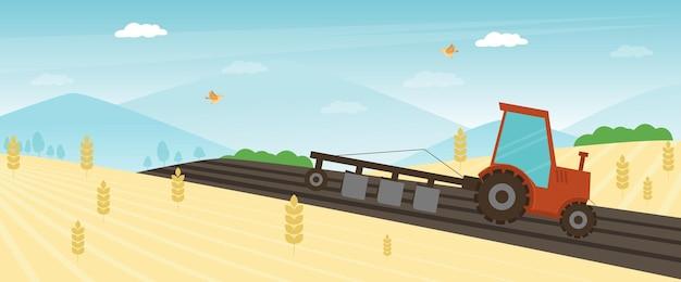 Баннер фермы сельского хозяйства. трактор возделывая поле на весенней векторной иллюстрации. концепция зерноуборочного комбайна, полив сельскохозяйственной тракторной техники. сельский сельскохозяйственный пейзаж. сезон работы фермера.