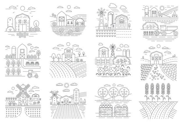 Agriculture farm, farming fields and buildings line icons
