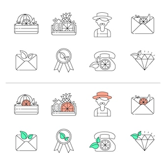 Agriculture farm. growing plants and fruits. colorful line vector icons collection. web design elements for business, site, mobile app.