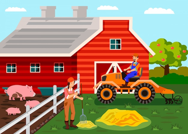 Agriculture, farm workers cartoon illustration