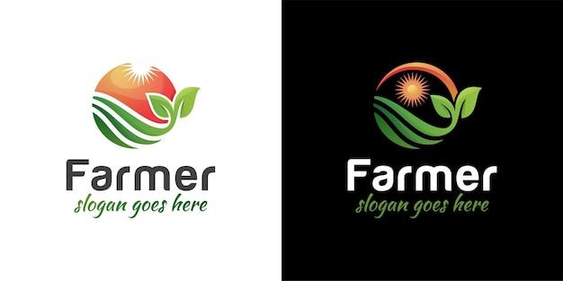 太陽のロゴデザインと2つのバージョンを持つ農業農家の庭の自然