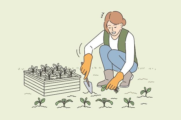 Сельское хозяйство, сельское хозяйство, концепция выращивания растений. молодая улыбающаяся женщина-фермер сидит, выращивая растения с лопатой, заботится о растениях векторная иллюстрация