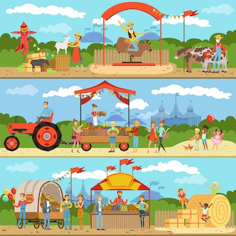 Agriculture and farming horizontal banners set, natural food farmer products, gardening, rural landscape colorful detailed  illustrations