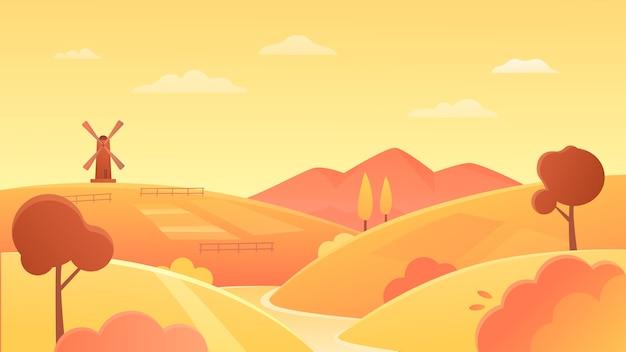農業農地の風景イラスト。川岸の有機小麦畑、地平線上の黄色い田舎の丸い丘と風車、日没の背景の農地
