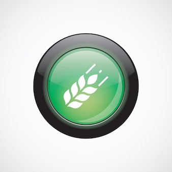 Agriculture glass sign icon green shiny button. ui website button