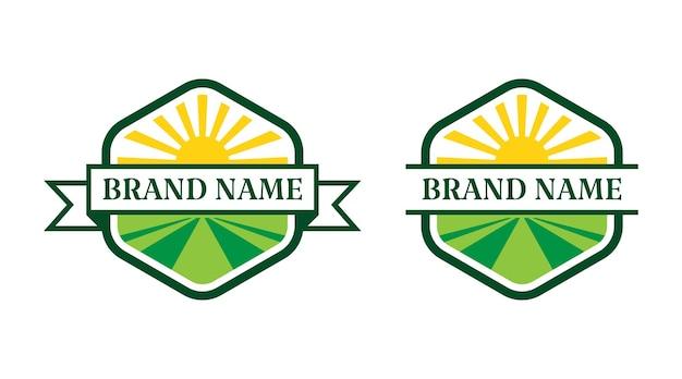 Agriculture hexagon vector logo template