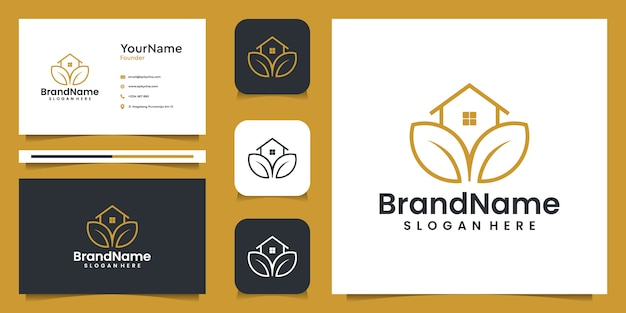 Agriculture house illustration graphic logo with business card. good for branding, personal use, ads, and business