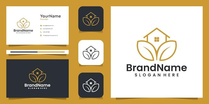 Logo grafico dell'illustrazione della casa di agricoltura con il biglietto da visita. buono per il branding, uso personale, pubblicità e affari