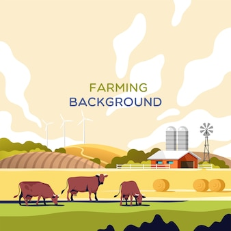 農業産業の農業と畜産の概念牛畑と農場のある夏の田園風景