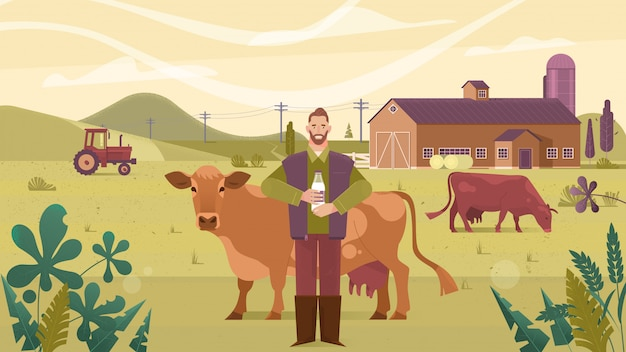 Agriculture industry, farming, people and animal husbandry
