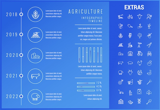 Agriculture infographic template, elements, icons.