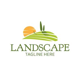 農業風景ビューベクトルロゴテンプレート。小麦畑、自然収穫などに適しています