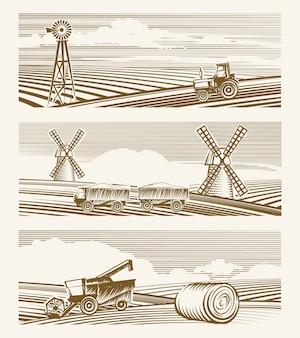 Сельскохозяйственные пейзажи. набор эскизов или гравировки урожая с техникой.