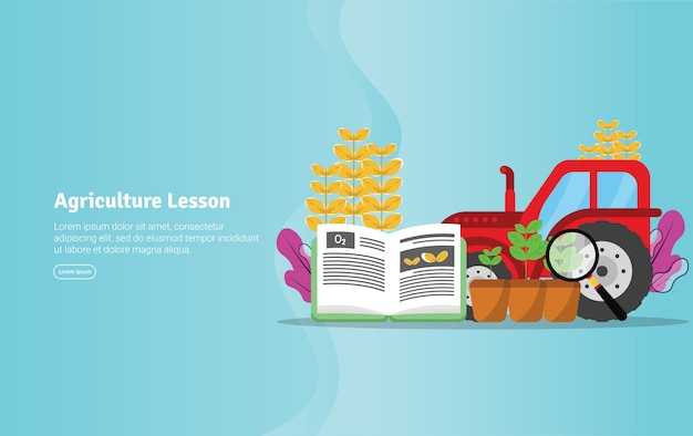Agriculture lesson concept educational illustration banner