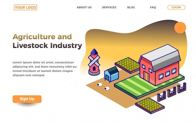 Agriculture and livestock industry landing page template