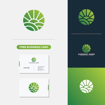 Agriculture logo and business card vector template