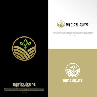 農業ロゴのコンセプトです。自然農場のロゴデザインテンプレートベクトル。アイコンの記号