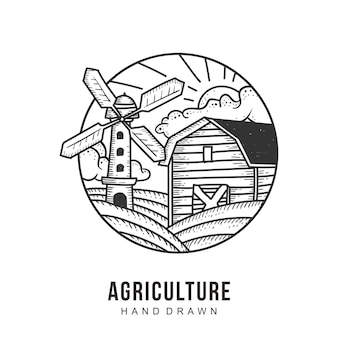 Agriculture logo hand drawn vector