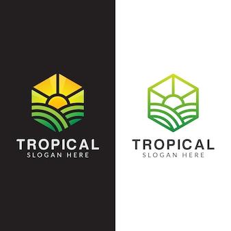 農業ロゴ、熱帯植物のロゴをラインアートスタイルで設定