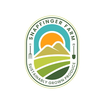 Agriculture logo with minimalist concept and natural elements