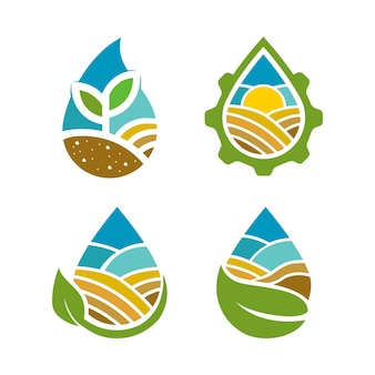 Agriculture logo with water drop concept and nature elements