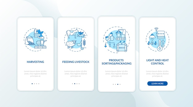 Agriculture machines types on boarding mobile app page screen with concepts.