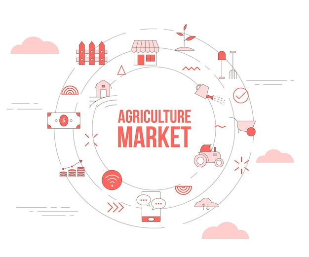 Agriculture market concept with icon set template banner and circle round shape vector illustration
