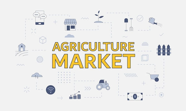 Agriculture market concept with icon set with big word or text on center vector illustration