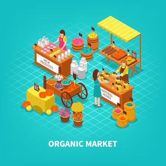 Agriculture market isometric composition