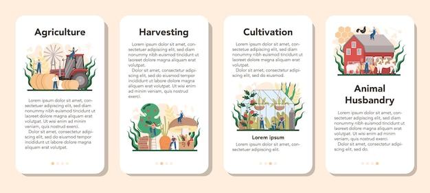 Agriculture mobile application banner set
