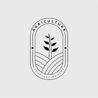 농업 또는 농장 배지 로고 벡터 일러스트 디자인. 농업 또는 농장 라인 아트 아이콘