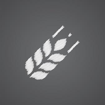 暗い背景に分離された農業スケッチロゴ落書きアイコン